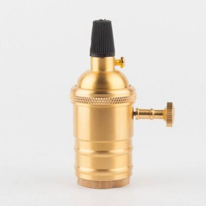 Латунный патрон с выключателем золотой