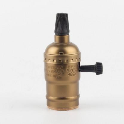 Алюминиевый патрон с выключателем бронзовый