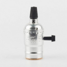 Алюминиевый патрон с выключателем серебристый